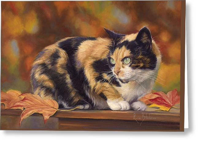 Calico In The Fall Greeting Card by Lucie Bilodeau