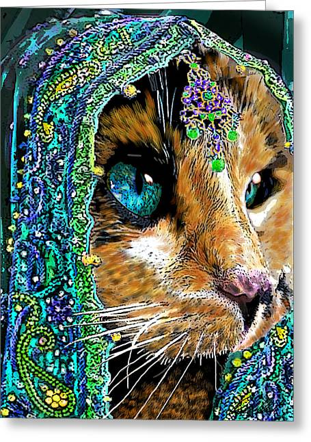 Calico Indian Bride Cats In Hats Greeting Card