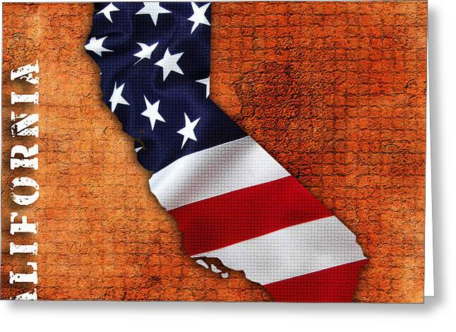 California American Flag Map Greeting Card by Marvin Blaine