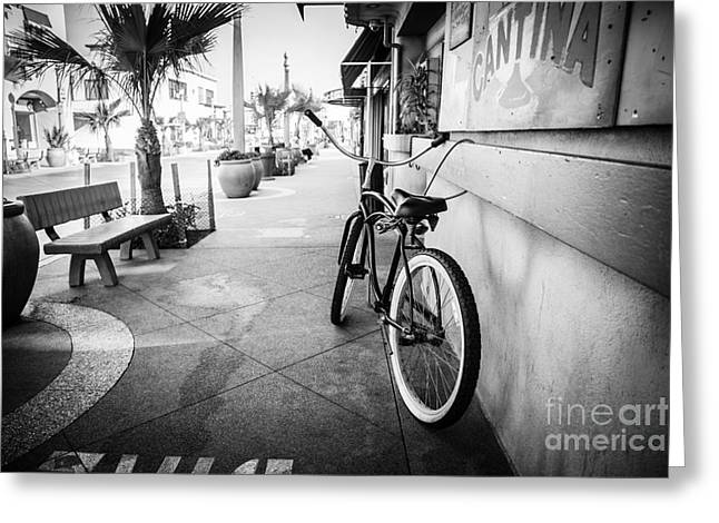California Beach Cruiser Bike Black And White Photo Greeting Card by Paul Velgos
