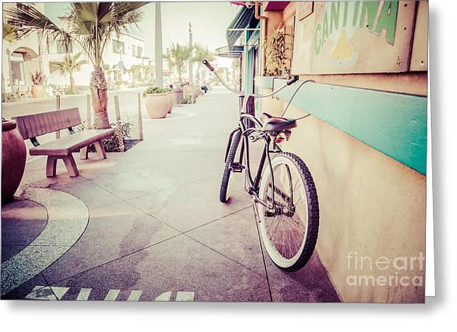 California Beach Cruiser Bike Retro Picture Greeting Card by Paul Velgos