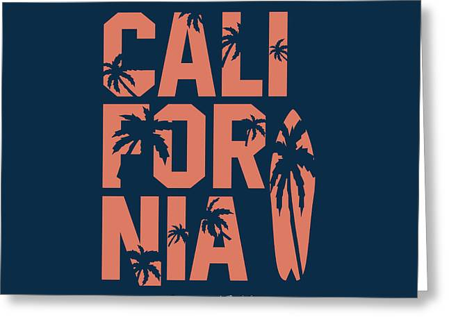 California Beach Typography Graphics Greeting Card