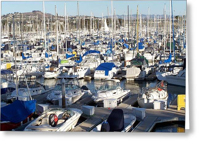 California Boat Harbor Greeting Card by Dianne Stopponi