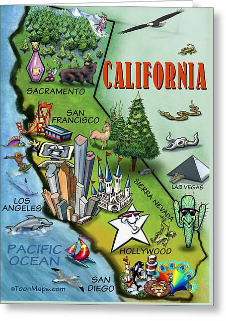 California Cartoon Map Greeting Card by Kevin Middleton