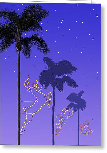 California Christmas Palm Trees Greeting Card by Mary Helmreich