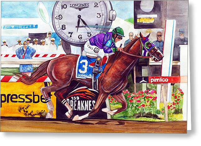 California Chrome Wins The Preakness Stakes Greeting Card by Dave Olsen