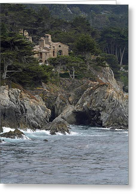 California Cliffside Ocean House Greeting Card