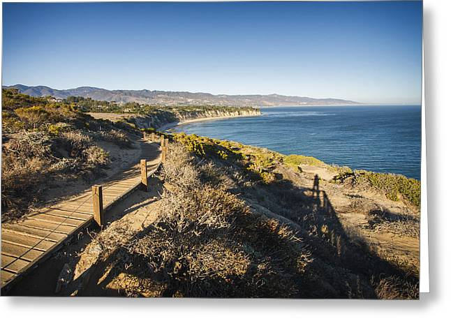 California Coastline From Point Dume Greeting Card by Adam Romanowicz