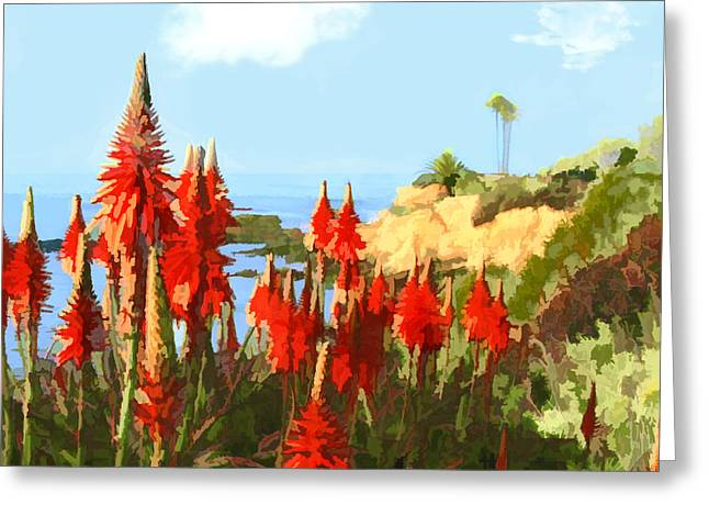 California Coastline With Red Hot Poker Plants Greeting Card by Elaine Plesser