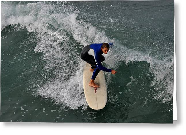 California Dreamin Surfer Greeting Card by Diane Lent