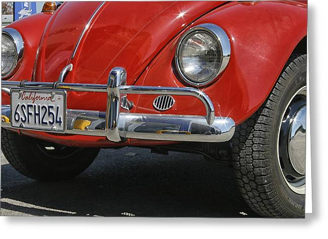 California Dreaming - Red Volkswagen Beetle Front Greeting Card by Georgia Fowler
