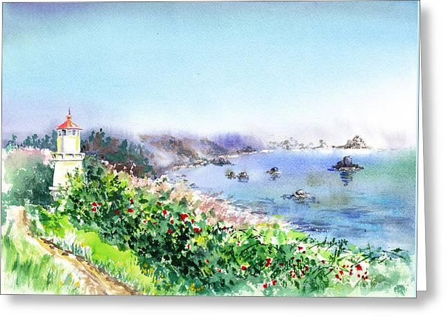 Lighthouse Trinidad California Greeting Card by Irina Sztukowski