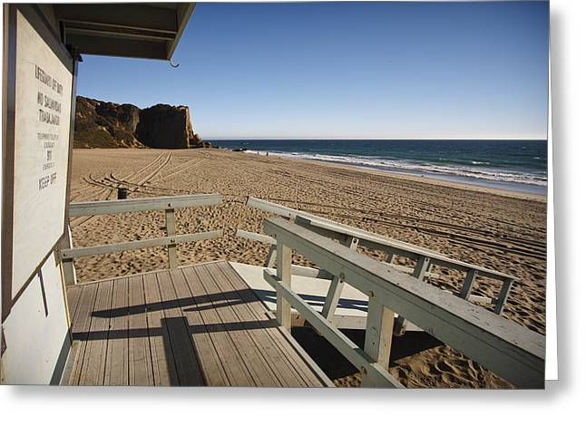 California Lifeguard Shack At Zuma Beach Greeting Card by Adam Romanowicz