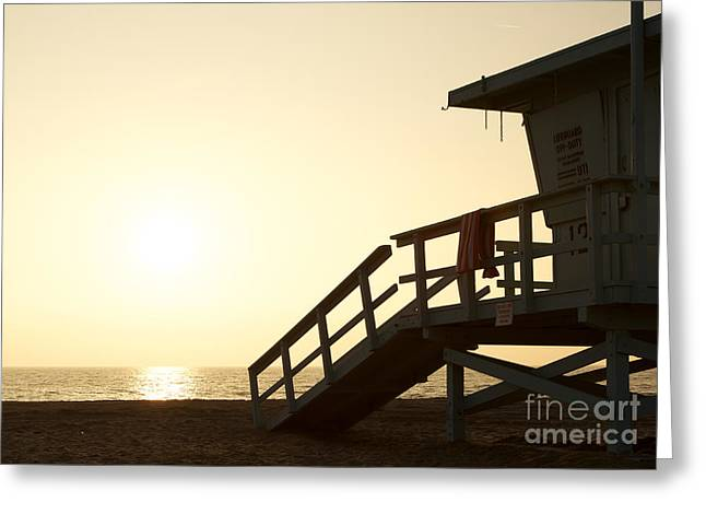 California Lifeguard Station At Sunset Greeting Card