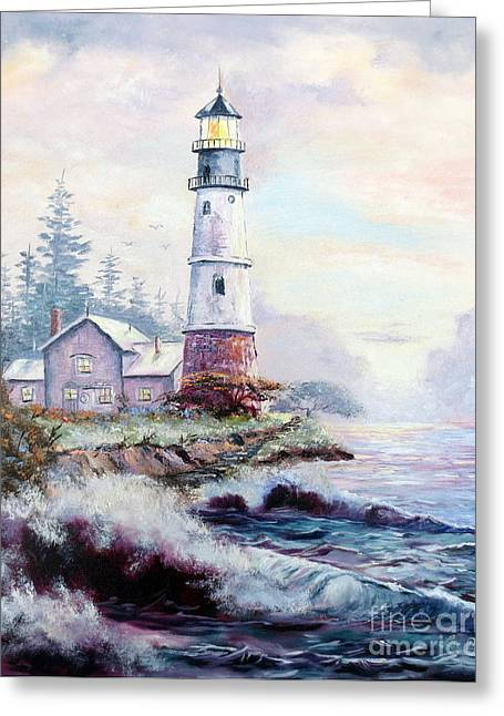 California Lighthouse Greeting Card by Lee Piper