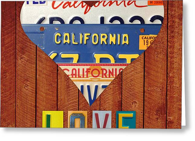 California Love Heart License Plate Art Series On Wood Boards Greeting Card by Design Turnpike