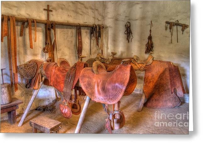 California Mission La Purisima Saddle Shop Greeting Card