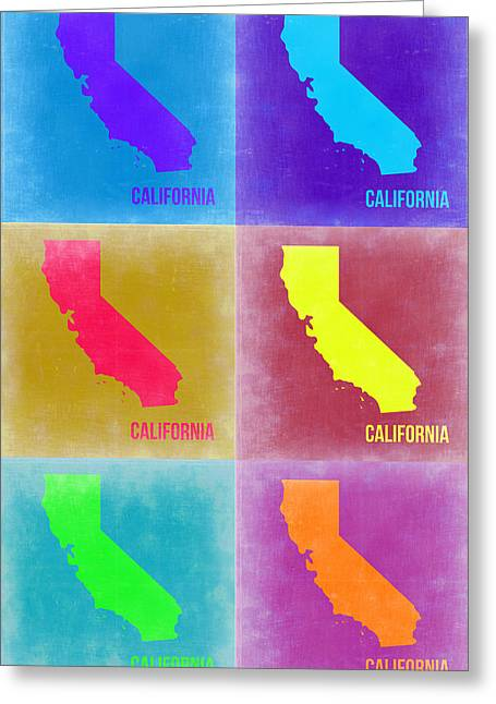 California Pop Art Map 2 Greeting Card by Naxart Studio