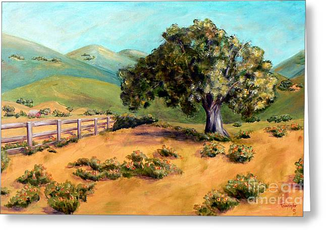 Greeting Card featuring the painting California Poppies II by Terry Taylor