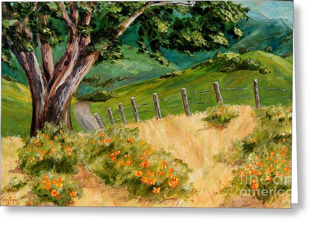 Greeting Card featuring the painting California Poppies by Terry Taylor