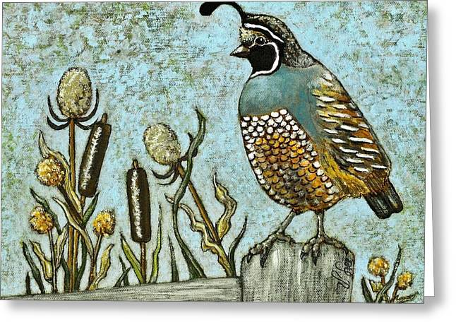 Greeting Card featuring the painting California Quail by VLee Watson