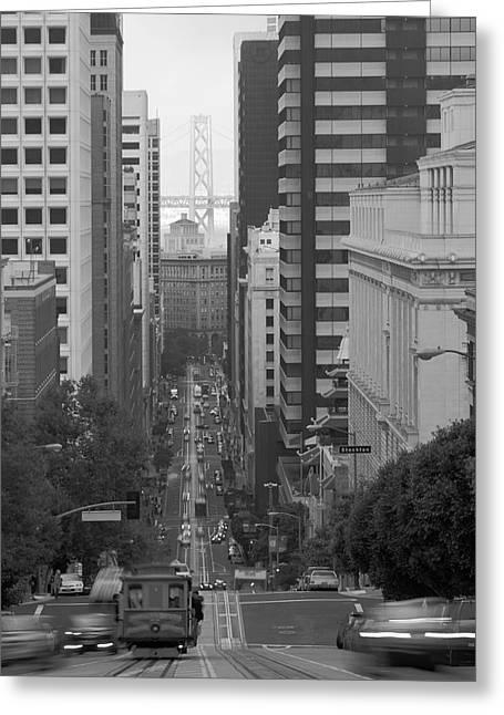 California Street San Francisco Streetcar Greeting Card by Silvio Ligutti