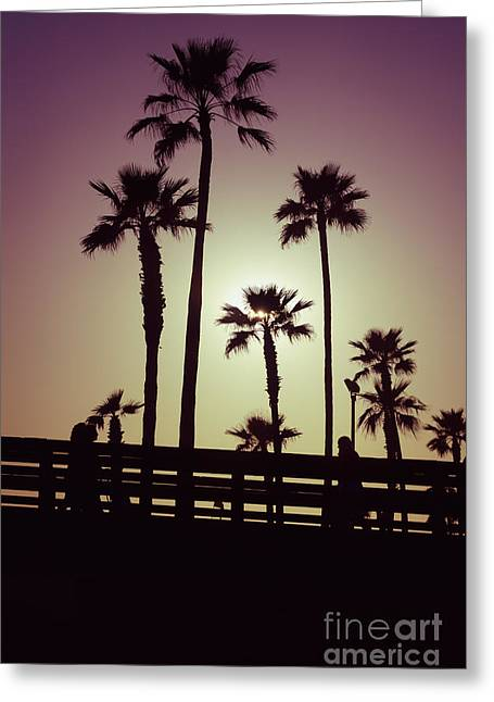 California Sunset Picture With Palm Trees Greeting Card by Paul Velgos