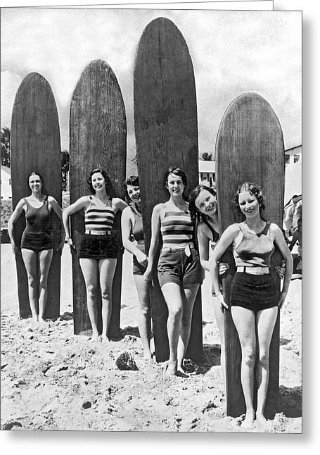 California Surfer Girls Greeting Card by Underwood Archives