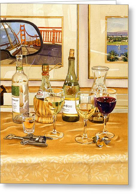 California Wine And Watercolors Greeting Card by Mary Helmreich