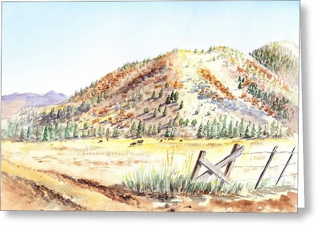 Californian Landscape Saint John Ranch Bald Mountain View Shasta County Greeting Card by Irina Sztukowski