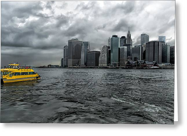 Call A Cab Anywhere In New York Greeting Card by Linda Karlin