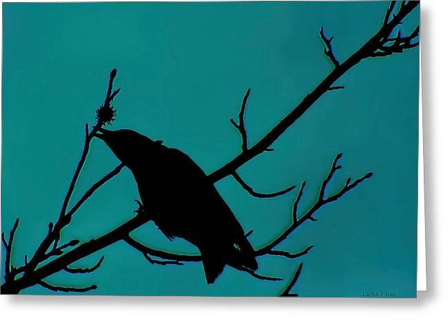 Call Of The Crow On Aqua 2 Greeting Card
