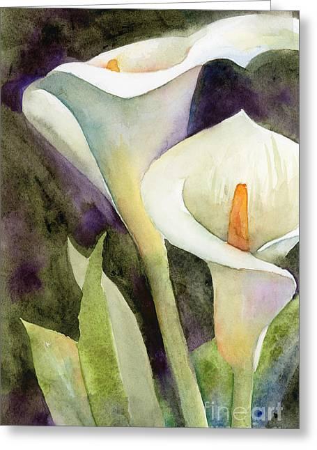Calla Lilies Greeting Card by Amy Kirkpatrick