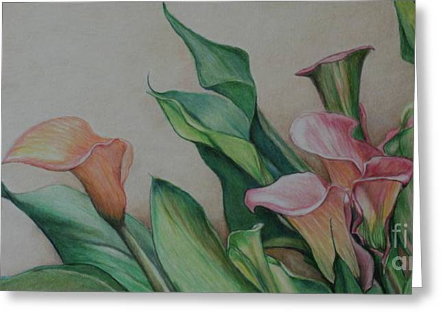 Calla Lilies Greeting Card by Charlotte Yealey