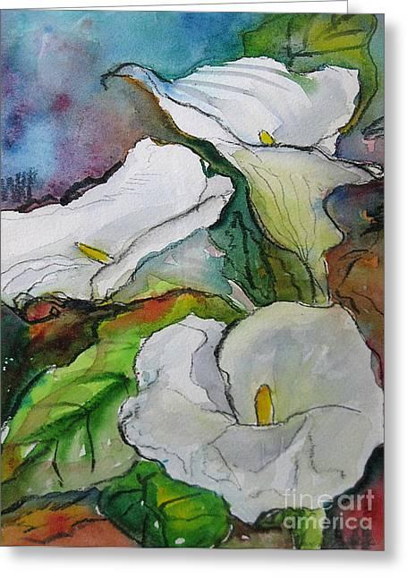 Calla Lilies Greeting Card by Gwen Nichols