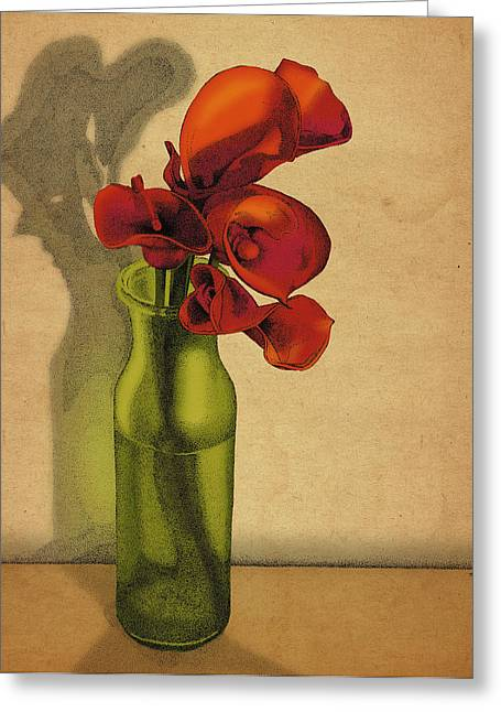 Calla Lilies In Bloom Greeting Card by Meg Shearer