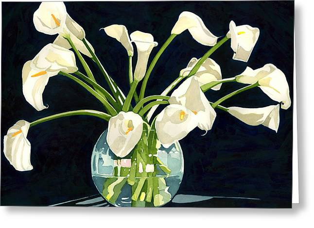 Calla Lilies In Vase Greeting Card