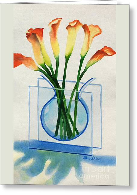 Greeting Card featuring the painting Calla Lilies by Kathy Braud