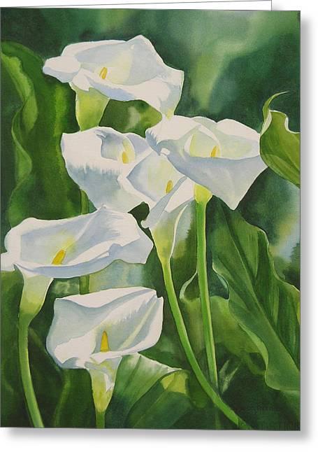 Calla Lilies Greeting Card by Sharon Freeman