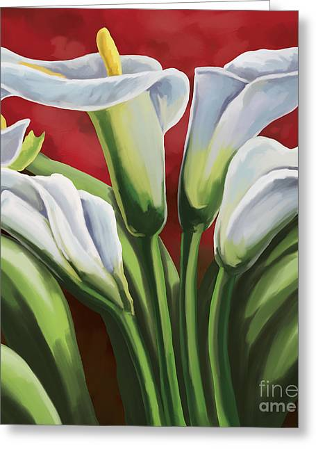 Greeting Card featuring the painting Calla Lilies  by Tim Gilliland