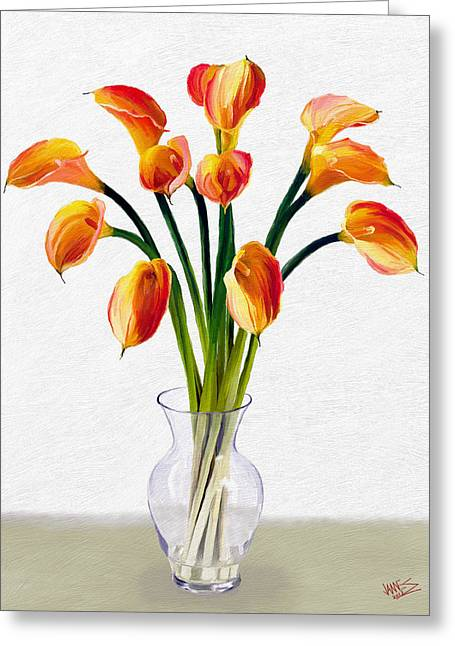 Calla Lillies Greeting Card by James Shepherd