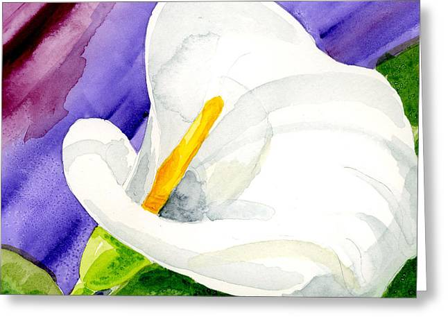 Calla Lily Close Up Greeting Card by Annie Troe