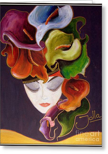 Greeting Card featuring the painting Calla Lily Dame.. by Jolanta Anna Karolska
