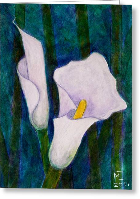 Callas Lilies II Greeting Card by Madalena Lobao-Tello