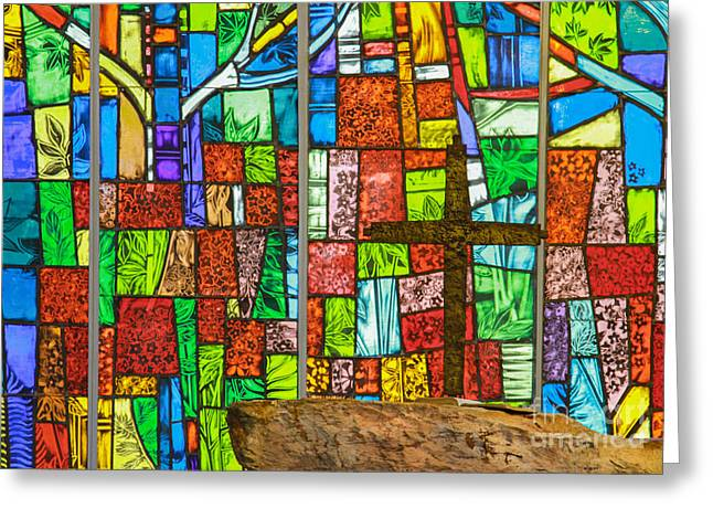 Callaway Gardens Chapel Alter Stone And Stained Glass Window Greeting Card