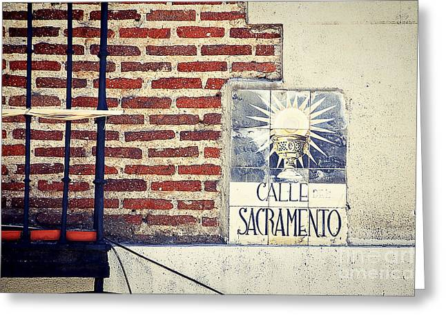 Calle Sacramento Madrid Street Sign Greeting Card by Ivy Ho