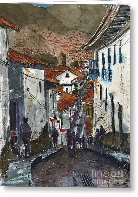 Calle Triunfo In Cusco Peru Greeting Card by Tim Oliver