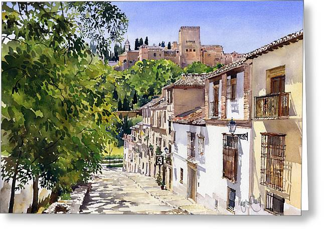 Calle Victoria Granada Greeting Card by Margaret Merry