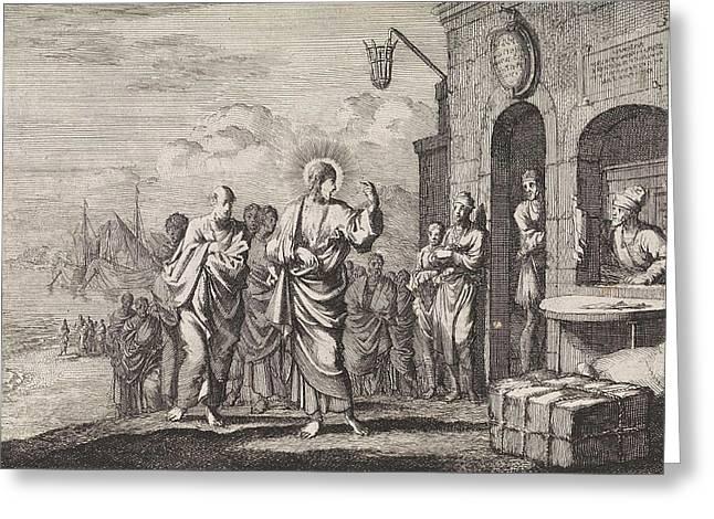 Calling Of Matthew, Jan Luyken, Pieter Mortier Greeting Card by Jan Luyken And Pieter Mortier