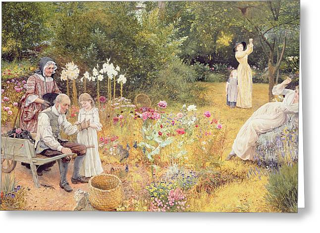 Calling The Bees Greeting Card by Edward Killingworth Johnson